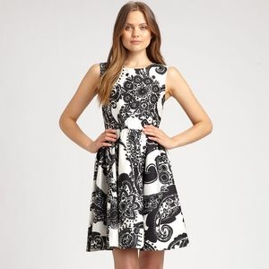 Kate Spade Alanis Ivory & Black Paisley Silk Dress
